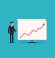 business man holding whiteboard - presentation vector image