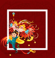 chinese lunar new year lion dance fight isolated vector image vector image