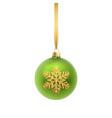 christmas greeting card green christmas ball vector image vector image