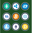 cryptocurrency symbols inside circles collection vector image vector image