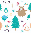 cute cartoon forest seamless pattern vector image