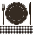 Cutlery plate and tablecloth pattern vector image vector image