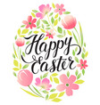 decorative frame happy easter and floral elements vector image vector image