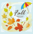 doodle maple leaves and umbrella vector image vector image