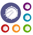 drum icons set vector image vector image