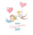 gey men characters flying heart balloons happy vector image vector image