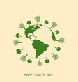 happy earth day card with earth and tree vector image
