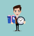 happy man with clock and and cute gift on vector image vector image