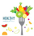 healthy fruit vegetable diet eat useful vitamin ca vector image vector image