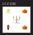 icon flat halloween set of gourd coffin specter vector image vector image