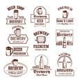 icons set for beer brewery pub bar or shop vector image vector image