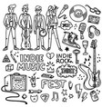 indie rock music set black and white vector image vector image
