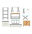 interior and furniture set shelving with shelves vector image vector image