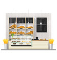 interior scene of bakery shop with display counter vector image vector image