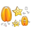 Juicy tropical carambola fruit cartoon characters vector image vector image