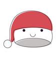 kawaii christmas hat santa claus happiness vector image vector image