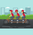 kids riding tandem bike vector image vector image