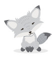 little white fox cartoon vector image vector image