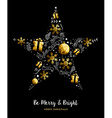 Merry Christmas gold star decoration ornament vector image vector image