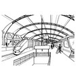 monochrome sketch with railway station black vector image vector image
