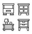nightstand icons set outline style vector image vector image