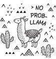 no prob llama ink cartoon llama print vector image vector image