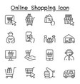 online shopping icons set in thin line style vector image vector image