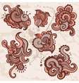 ornamental flowers set indian style vector image