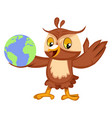 owl with globe on white background vector image vector image
