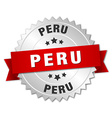 Peru round silver badge with red ribbon vector image vector image