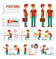 posture infographic elements people with back vector image