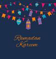 ramadan lanterns garland pattern arabic vector image vector image