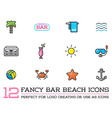 Set of Beach Sea Bar Flat Icons Elements and vector image vector image