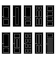 set of black door icons vector image vector image