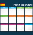 spanish planner blank for 2018 scheduler agenda vector image vector image