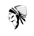 stylized profile indian chief in vector image