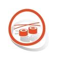 Sushi sign sticker orange vector image