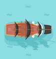 top view vintage wooden pirate buccaneer vector image vector image