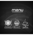 vintage chalkboard menu design with plate fork and vector image vector image