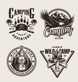 vintage summer outdoor adventure emblems vector image vector image