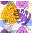 website seamless pattern with leaves and flowers vector image
