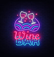 wine bar neon sign wine shop design vector image vector image