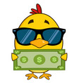 yellow chick cartoon character wearing sunglasses vector image vector image
