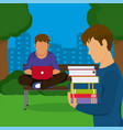 young mens studying at park vector image vector image
