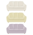 three sofas in different colors vector image