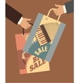 human hand with shopping bags vector image