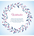 Floral wreath of blue leaves and pink berries vector image