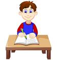 funny Boy cartoon writing above a desk vector image