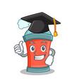 graduation aerosol spray can character cartoon vector image