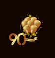 90 year anniversary gold balloon template design vector image vector image